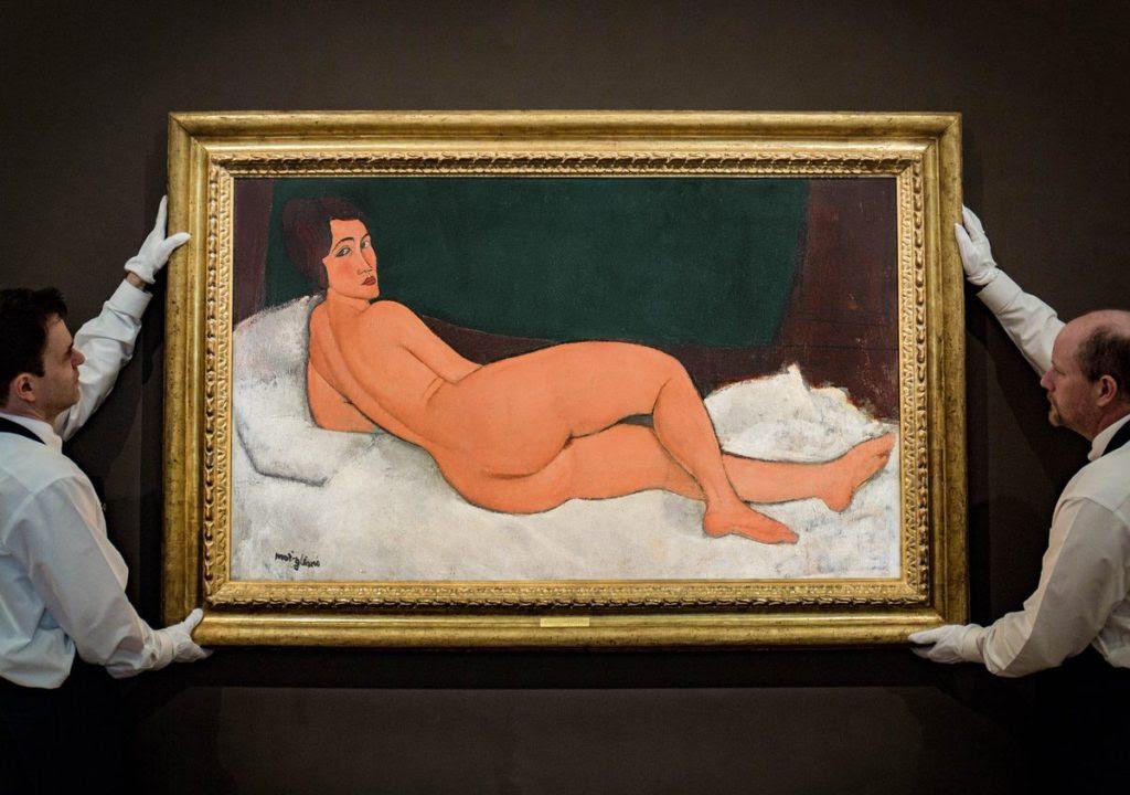 Amedeo Modigliani, Nu couché (sur le côté gauche) (1917). Courtesy Sotheby's.