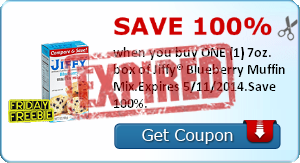 Save 100% when you buy ONE (1) 7oz. box of Jiffy® Blueberry Muffin Mix.Expires 5/11/2014.Save 100%.