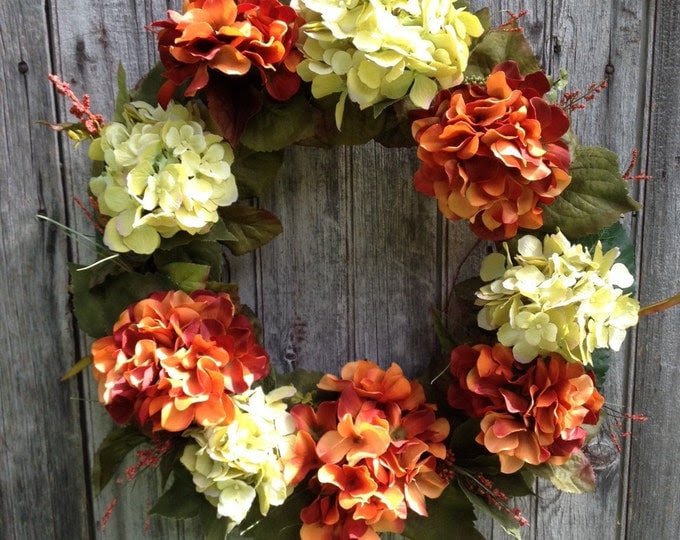 Hydrangea Wreath, Fall Wreath, Autumn Front Door Wreath, Harvest Decor, Thanksgiving Decoration