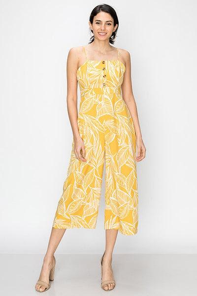 tropical print gaucho jumpsuit