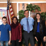 Left to Right: 8th Grade President Adolfo Mejia, 6th Grade President Mariyam Mubarak, Mayor Noam Bramson, 7th Grade President Alejandra Ceja