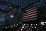 Members of the press at Hillary Clinton's election night event at the Jacob Javits Center in New York City on Tuesday.