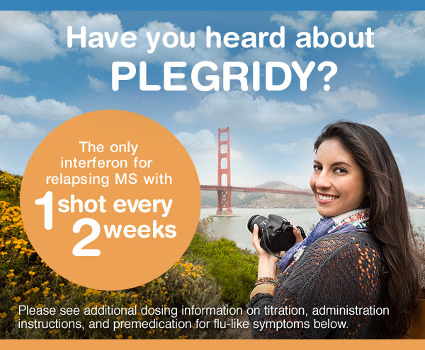 Have you heard about PLEGRIDY? The only interferon for relapsing MS with 1 shot every 2 weeks. Please see additional dosing information on titration, administration instructions, and premedication for flu-like symptoms below.