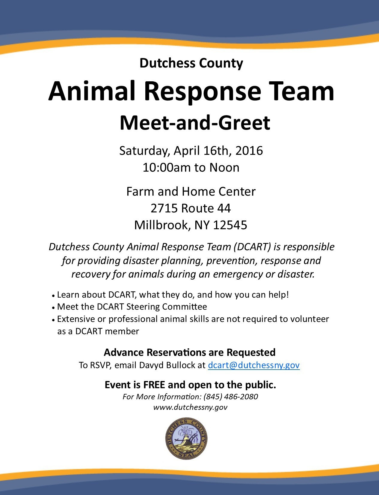 Dutchess County Animal Response Team To Host Meet And Greet This