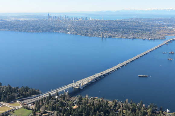 After photo with only the new SR 520 floating bridge on Lake Washington