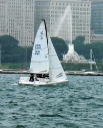 J/70 sailing off Chicago waterfront