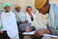 A community group gather in Ethiopia