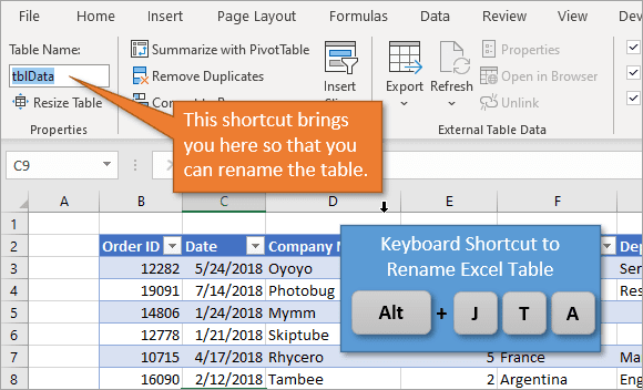 Shortcut to Rename Excel Table 1