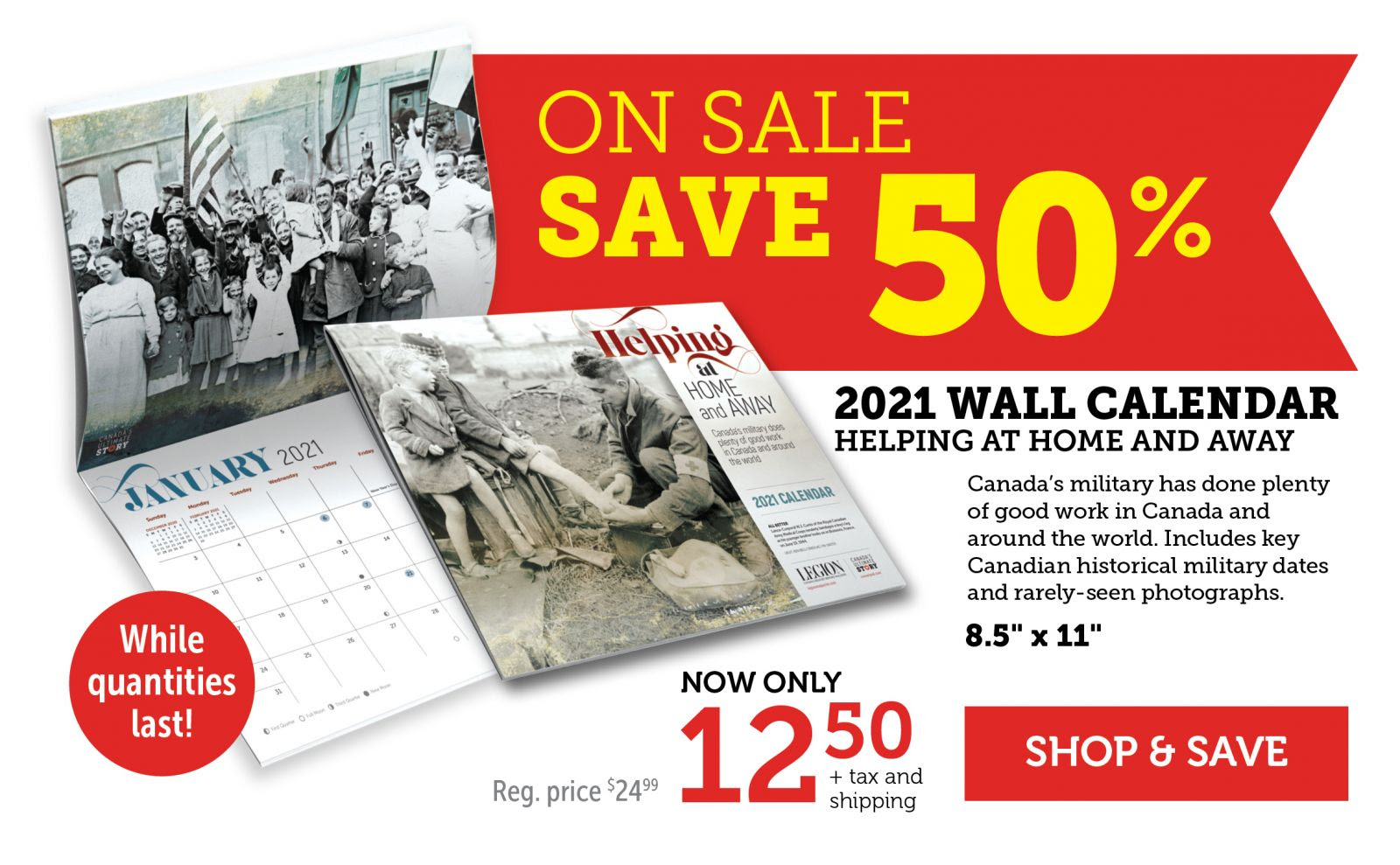 On Sale - Save 50% on 2021 Wall Calendar
