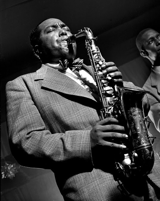 Herman Leonard photograph of saxaphonist