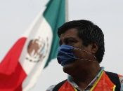 Construction workers request help from the Mexican government outside the National Palace, Mexico city, Mexico, April 17, 2020.
