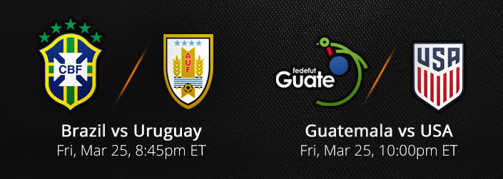 Watch Brazil vs Uruguay and Guatemala vs USA Live