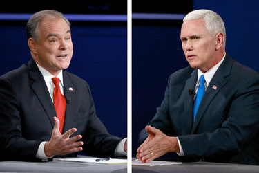 Senator Tim Kaine, Democrat of Virginia, left, and Gov. Mike Pence of Indiana, his Republican rival, during the vice-presidential debate on Tuesday in Farmville, Va.