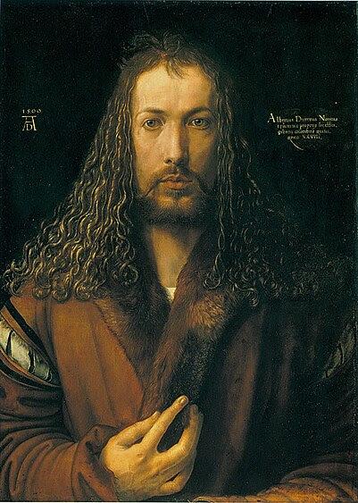 Автопортрет в одежде, отделанной мехом, 1500, Старая Пинакотека, Мюнхен