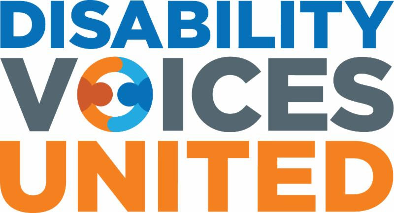 """Disability Voices United's logo. """"Disability"""" is in dark blue, """"Voices"""" is in gray text, and """"United"""" is in orange. The """"O"""" in """"Voices"""" is replaced by an o-shaped icon of two figures (one blue, one orange) holding hands or embracing."""