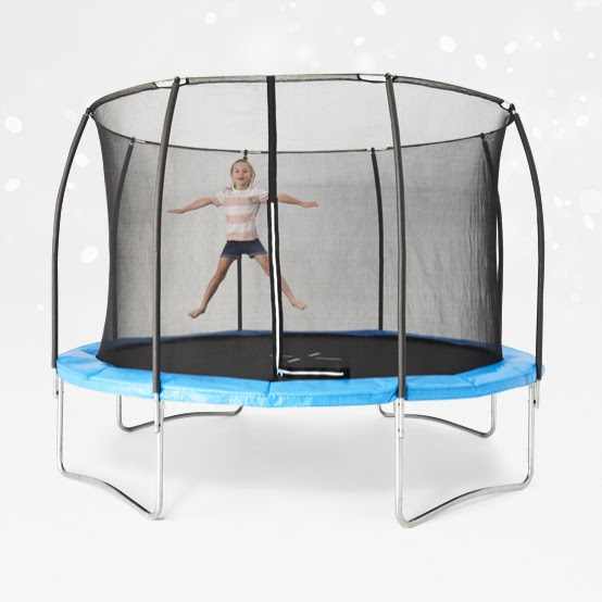 12 foot springless trampoline with enclosure.