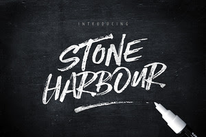 Stone Harbour Brush Font + Extras