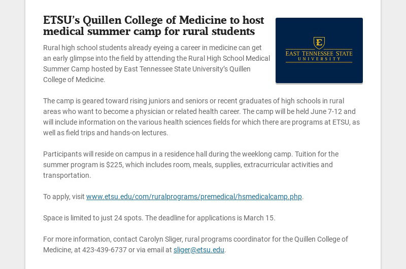 ETSU's Quillen College of Medicine to host medical summer camp for rural students Rural high...