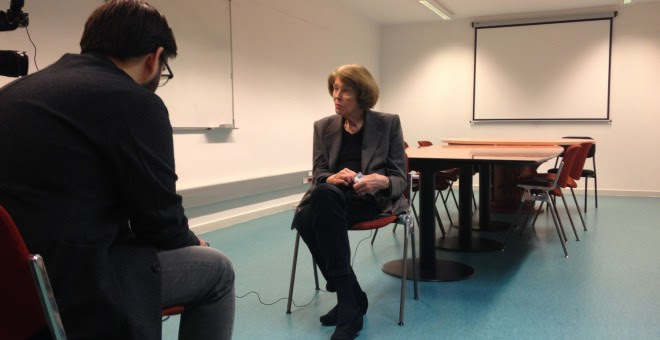 L'escriptora Susan George, en un moment de  l'entrevista amb Públic