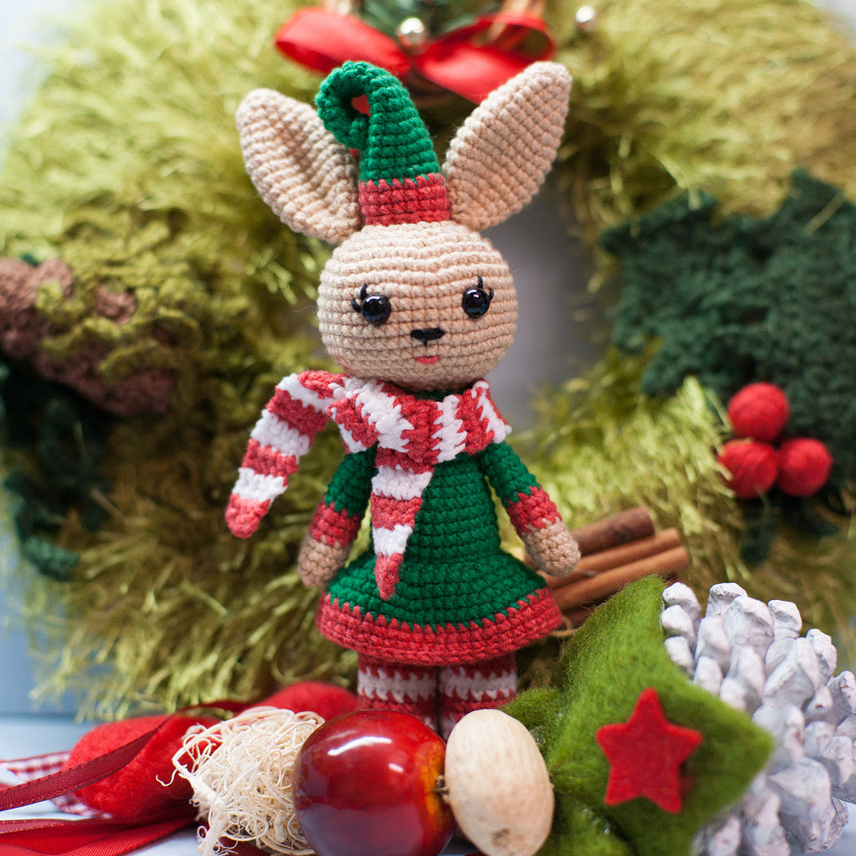 motif crochet lapin de Noël - PDF imprimable