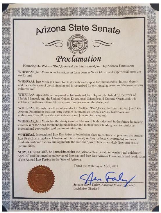 Arizona 2017 Jazz Day Proclamation