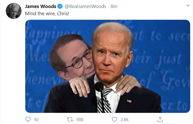 Screen shot of James Woods tweet showing wallace kissing Biden.