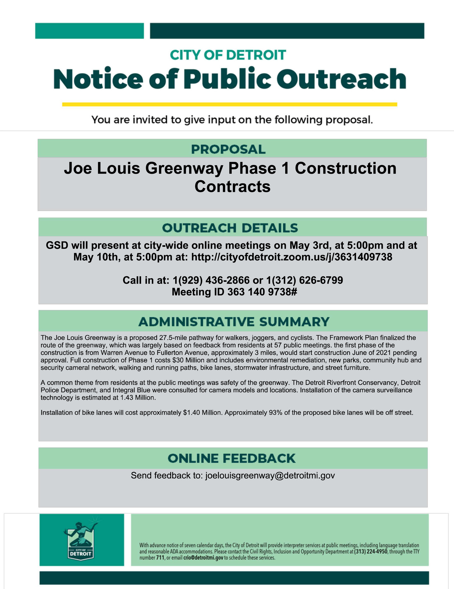Joe Louis Greenway Contracts Public Meetings 5.3.21 & 5.10.21
