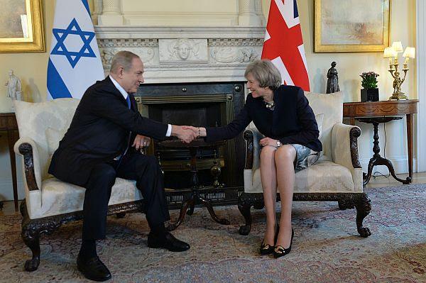 Israeli PM Benjamin Netanyahu and British PM Theresa May at meeting in No. 10 Downing in London