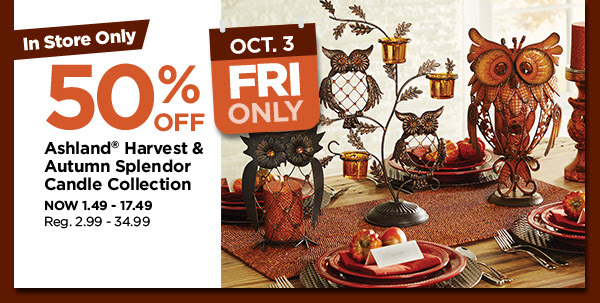 50% off Ashland® Harvest & Autumn Splendor Candle Collection