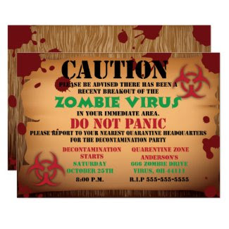 Zombie Virus Halloween Party Invitation