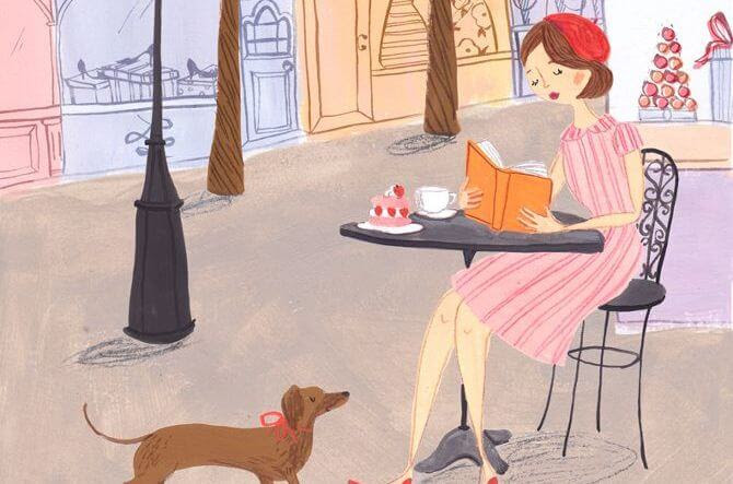 chica en la terraza tomando cafe