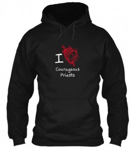 Your Courageous Priests Hoodies are going fast.  Excellent response so far.  If you want to support Courageous Priest by buying a hoodie, then please act now.  The offer ends Tuesday. http://teespring.com/CourageousPriestHoodie