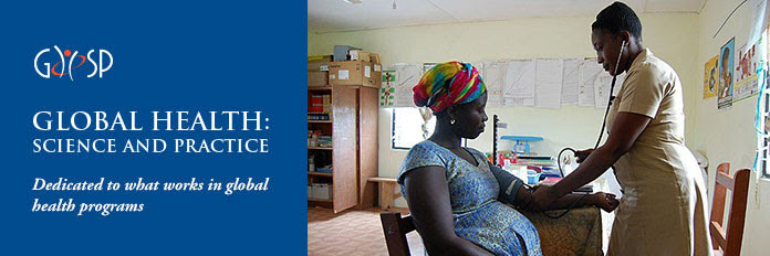 GHSP. GLOBAL HEALTH: SCIENCE AND PRACTICE. Dedicated to what works in global health programs. Photo of a pregnat woman getting her blood pressure checked at a clinic.