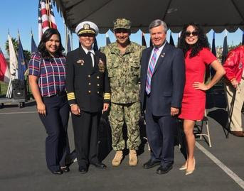 Photo: Angela Rosendale, Captain Myles Esmele, LCDR Henry Martinez II, Ruben Garcia, and Elia Bean