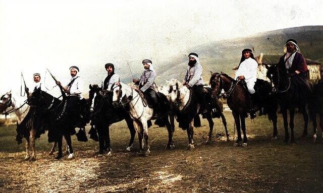 Members of Hashomer in Kfar Giladi (1907, colorized)