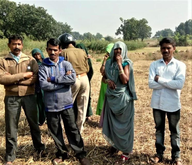 Lalsingh Tomar (left), Pastor Mukam Kiraad (in blue) and Nanliya Rawat (right), detained in Vadi village, Madhya Pradesh, India, on Dec. 10, 2019. (Morning Star News)