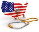 Image of U.S Flag in the shape of the country and a stethoscope