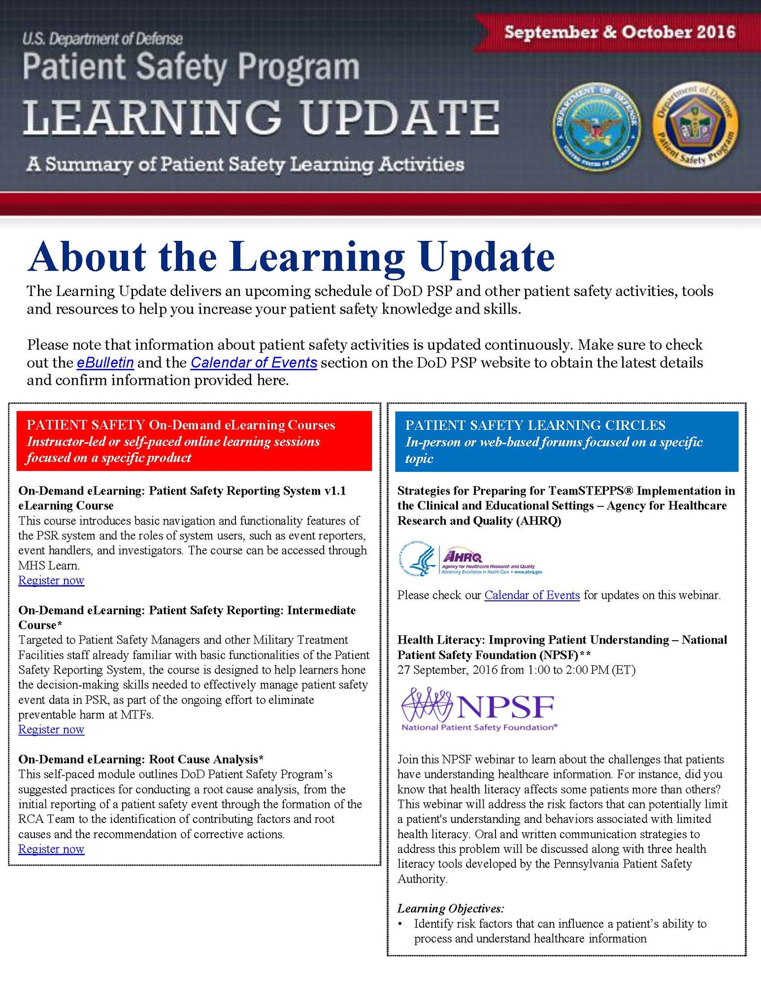 Learning Update September October 2016