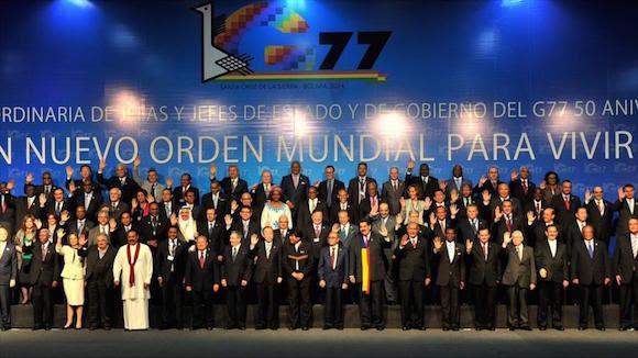 Líderes de los países miembros del Grupo de los 77, más China, reunidos en Santa Cruz, Bolivia. Foto: Archivo