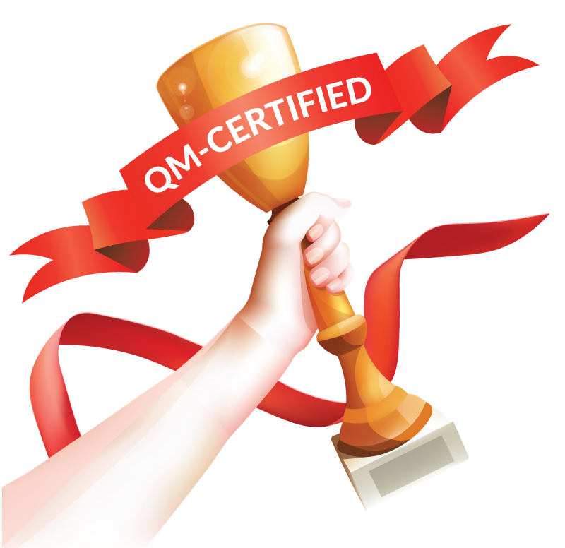 trophy with QM-certified on ribbon