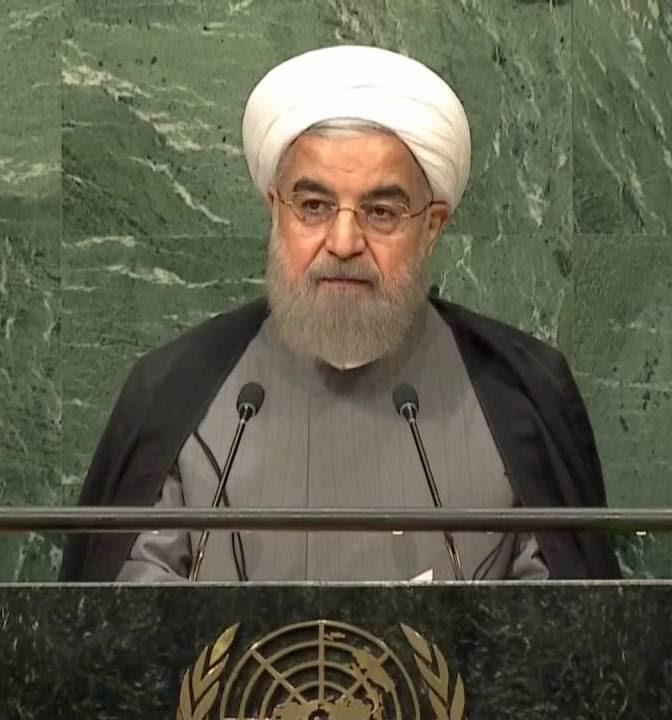 <p>Hasan Rohaní,presidente de Irán, durante su discurso de la sesión de la Asamblea General de las Naciones Unidas.</p>
