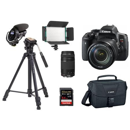 EOS Rebel T6i DSLR + EF-S 18-135mm Lens + EF 75-300mm Lens + CLAR Slim Series Bi-Color On