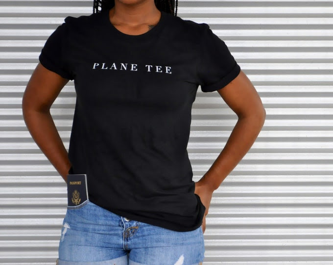 Unisex Plane Tee - Graphic Tee for Travel Lovers – Wanderlust Travel Tee – Graphic T-Shirt – Travel Chic Airport Style - White Shirt