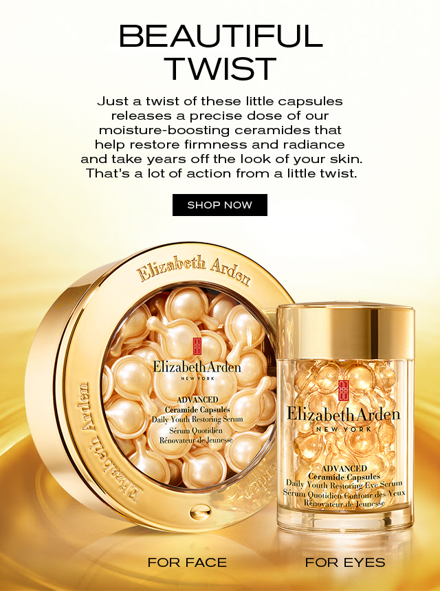 BEAUTIFUL TWIST Just a twist of these little capsules releases a precise dose of our moisture-boosting ceramides that help restore firmness and radiance and take years off the look of your skin. That's a lot of action from a little twist. SHOP NOW