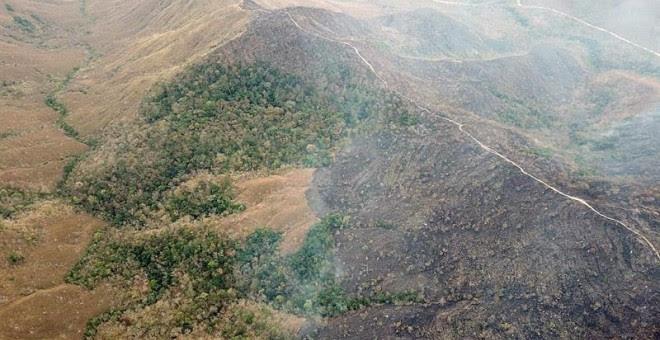 Incendio en la Chapada dos Guimarães, en el estado de Mato Grosso (Brasil). EFE/ Bomberos Mato Grosso