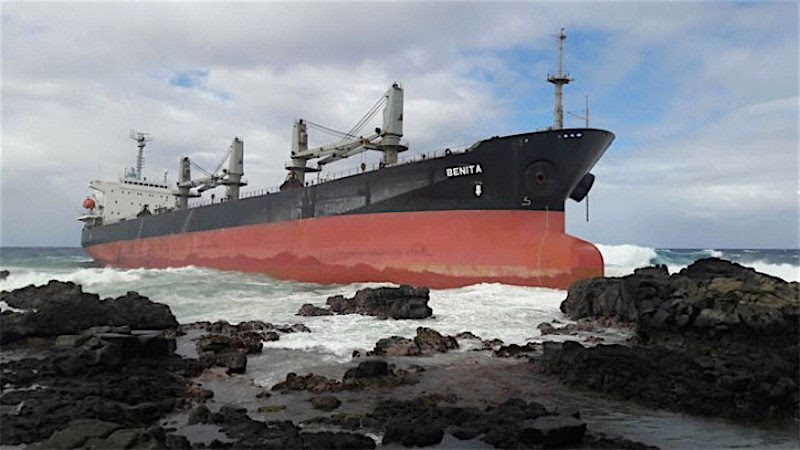 The MV Benita aground in  Mahebourg, Mauritius.