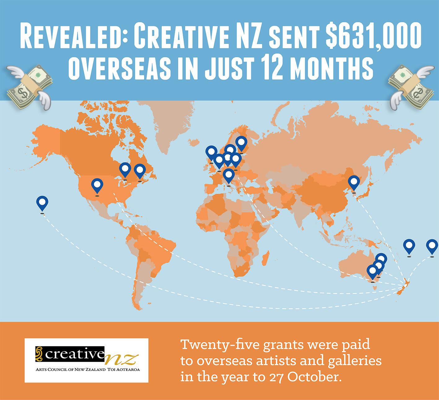 Creative NZ map