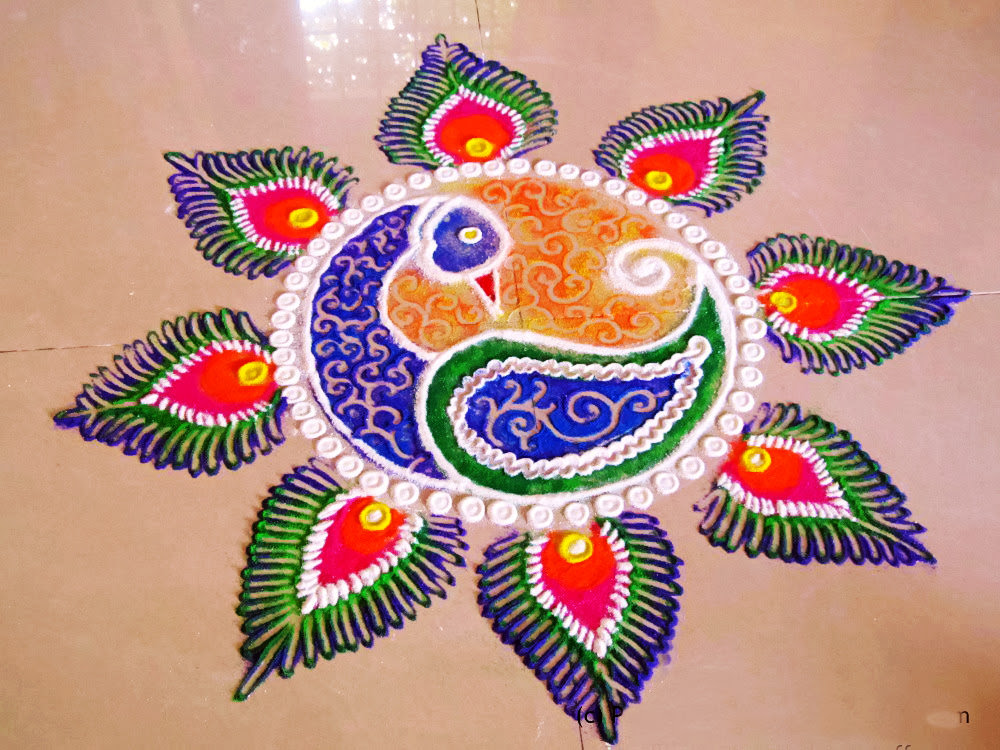 Beautiful Peacock Rangoli Pattern Images