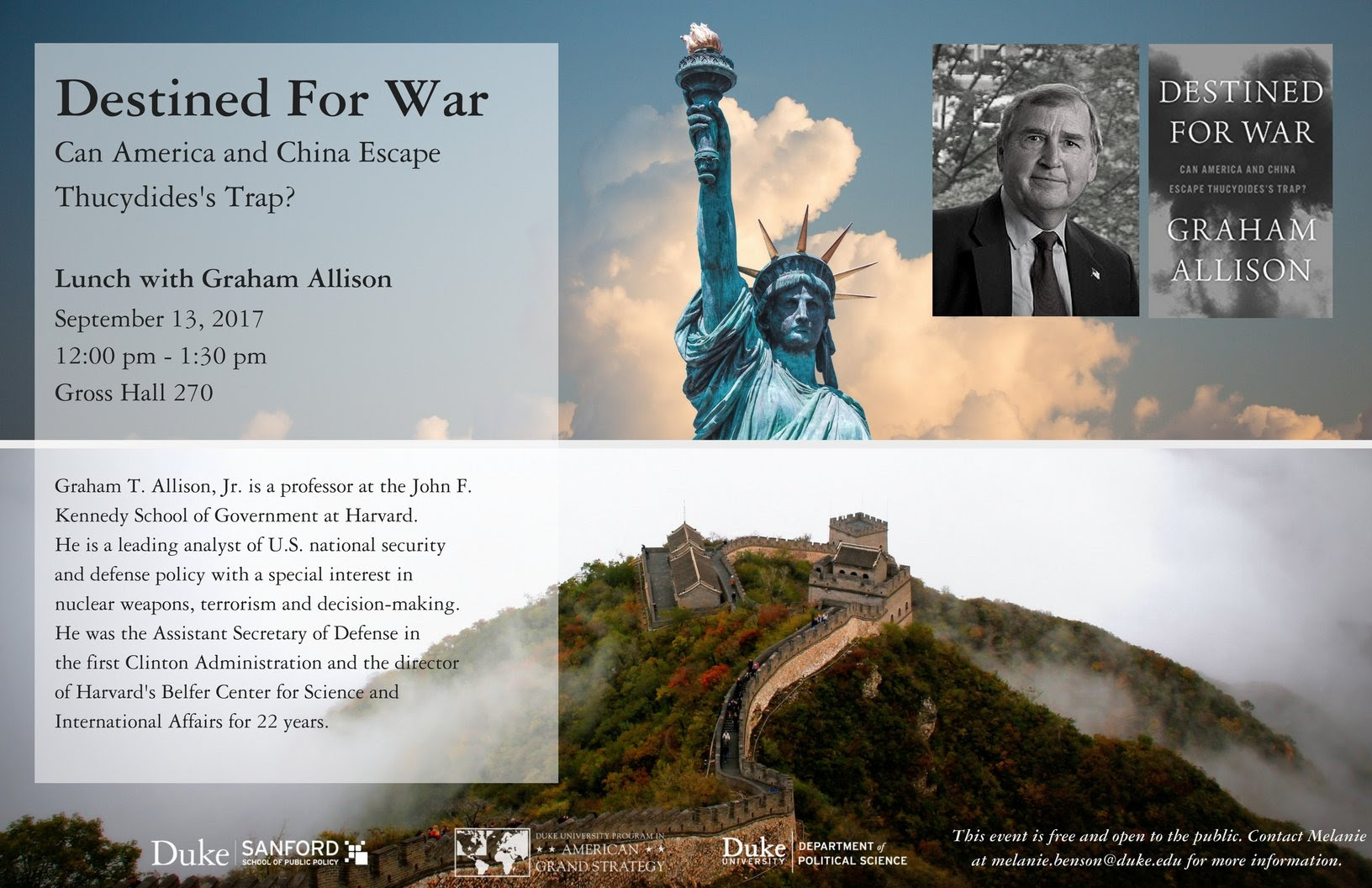 Destined for War: Can America and China Escape Thucydides's Trap? Lunch with Graham Allison @ Gross Hall Room 270 | Durham | North Carolina | United States