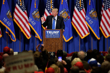 Donald J. Trump speaking at campaign rally on Sunday in West Alles, Wisc.